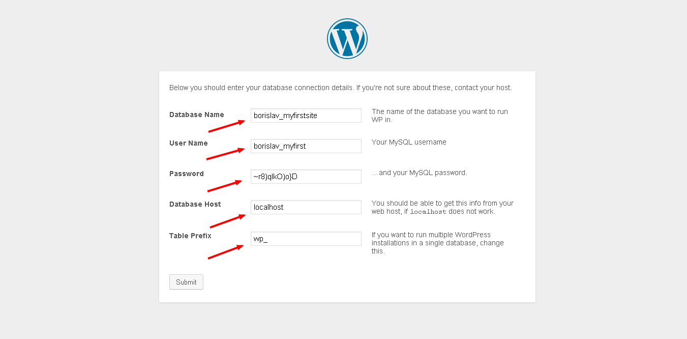 Adding the database info to your wordpress site