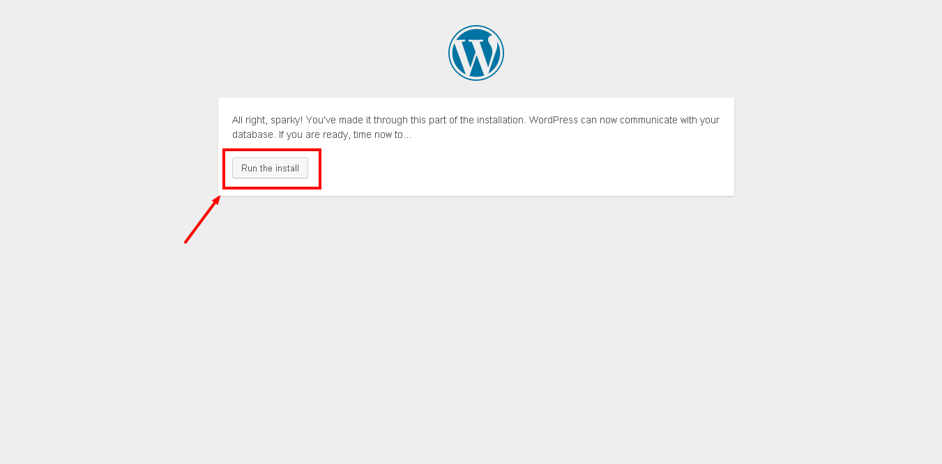 Running the install of WordPress